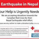 Canadian Red Cross Nepal Region Earthquake Fund donations accepted at all London Drugs locations