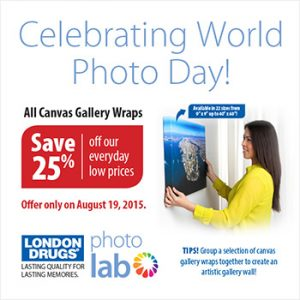 25% off gallery wraps. One day only—World Photo Day, August 19th. Celebrate by putting your best photo on your favourite wall.