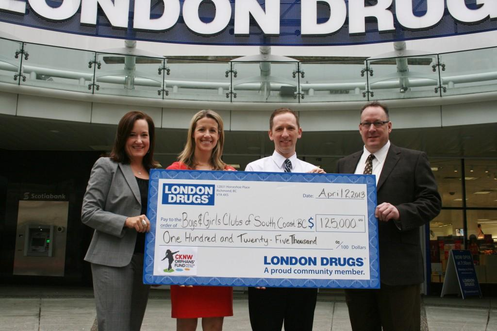 Photo: Carolyn Tuckwell (Executive Director Boys and Girls Clubs of South BC), Jen Schaeffers (Executive Director CKNW Orphans Fund), David Stegemann (London Drugs store supervisor) and Kevin Sorby (London Drugs Retail Operations)