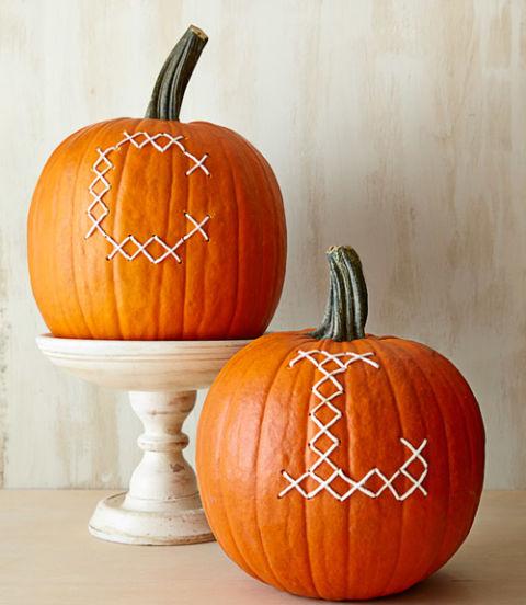 Cross-Stitched Pumpkins