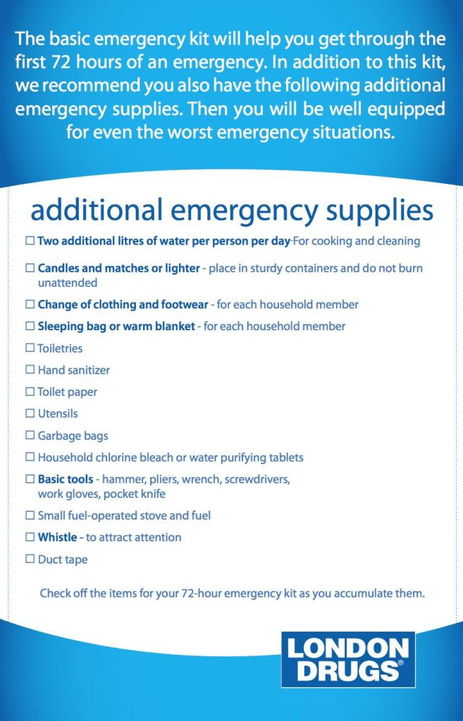 Emergency Preparedness Checklist London Drugs