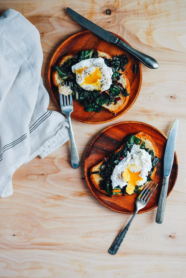 Beyond avocado toast: Poached egg and rainbow chard toast