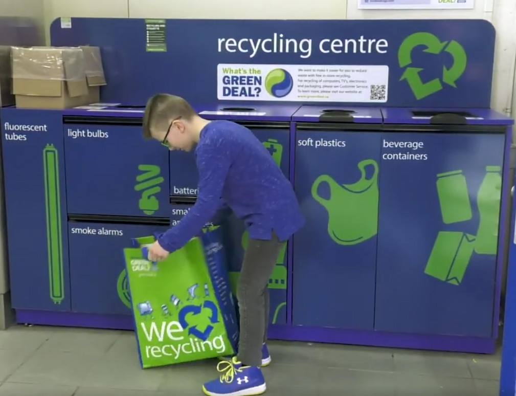 11-year-old Mason recycles at London Drugs